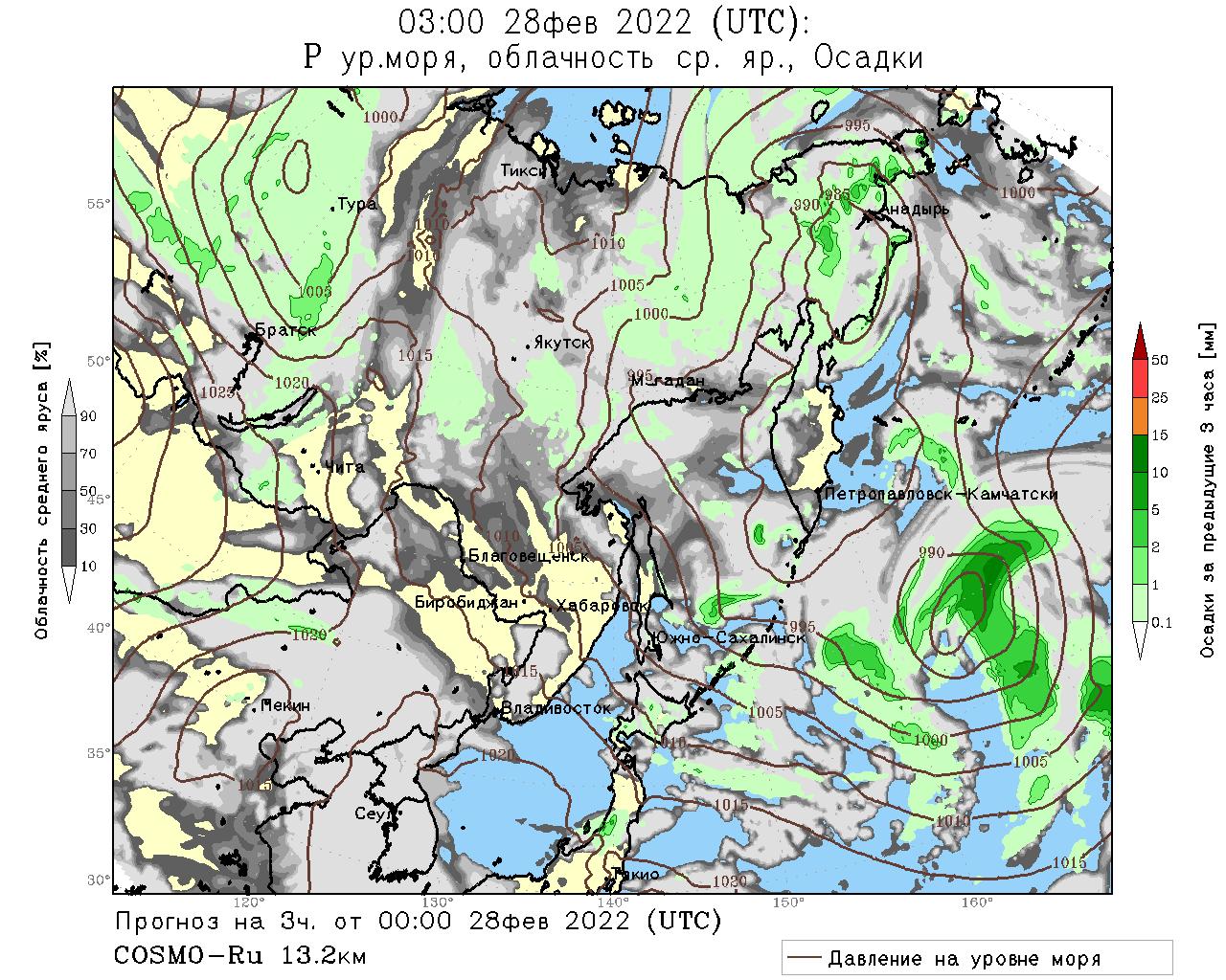 Карты прогнозов модели COSMO